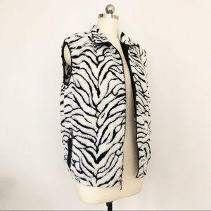 Vintage Sherpa Zip Vest Fleece Zebra Print Medium